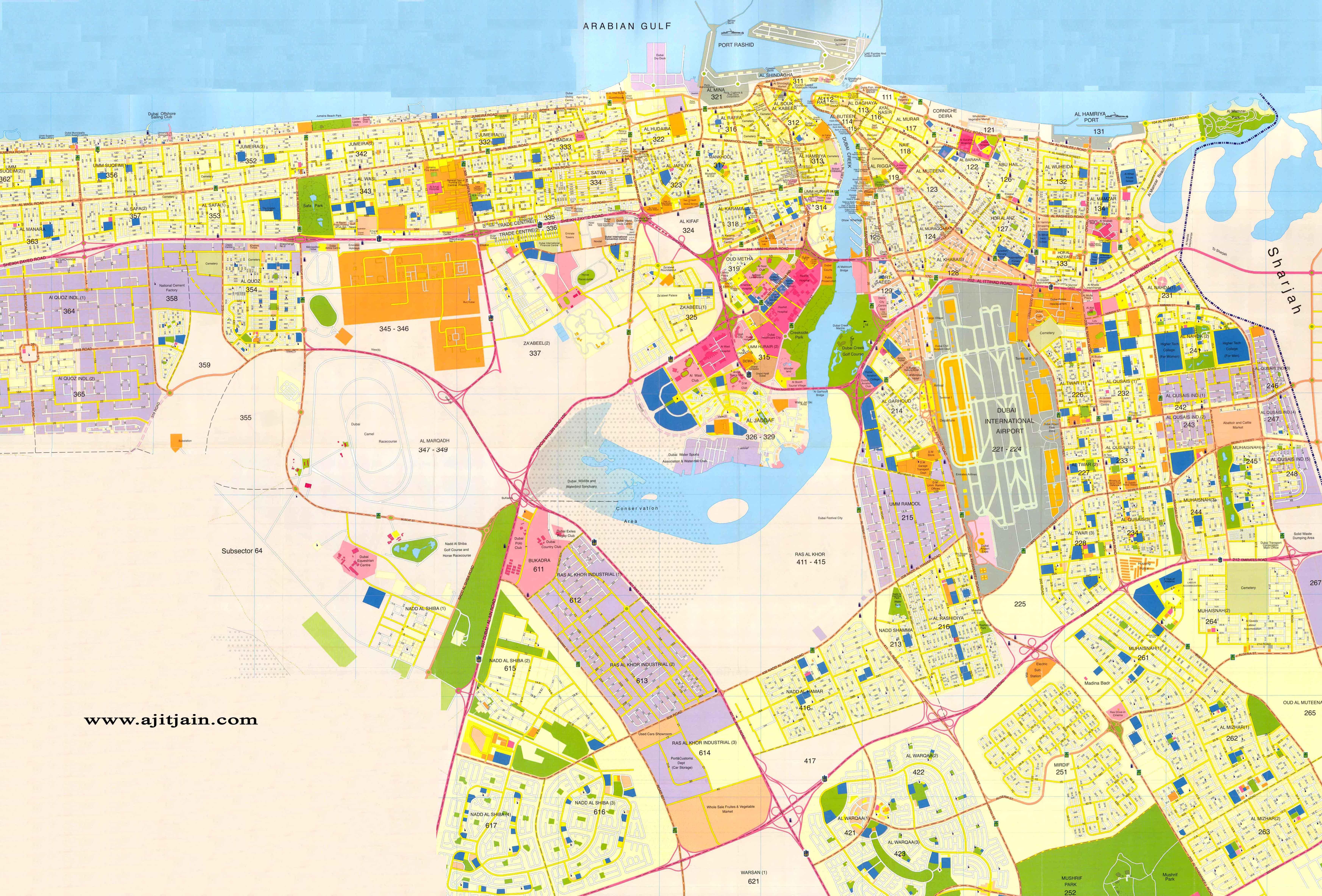 Dubai map for Map of dubai hotels